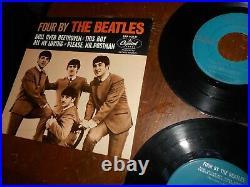 Beatles Rare Eap 1-2121 Capitol Records Four By The Beatles Jacket & 2 Vinyls