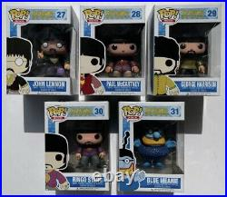 Beatles Yellow Submarine Funko Pop Set John, Paul, George, Ringo, Blue Meanie