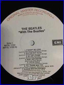 MFSL THE BEATLES WITH THE BEATLES Original Master Recording NM Vinyl