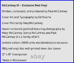 Paul McCartney III Red LP Vinyl Limited Edition 3000 Copies RARE (The Beatles)