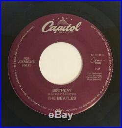 RARE The Beatles / Taxman & Birthday / 2 Vinyl 45s Green & Rare Black / Mint