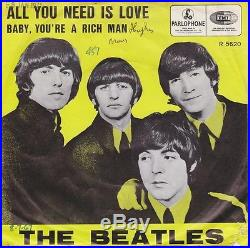 THE BEATLES All You Need Is Love Vinyl Single 7 Inch, 1967 UK R 5620 Rare EXC