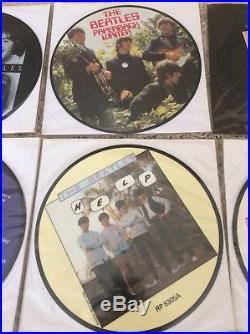 THE BEATLES COMPLETE 7 VINYL PICTURE DISC 1980s 20th ANNIVERSARY SET X22