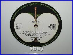 THE BEATLES Lp-Let It Be RARE U. K. WHITE VINYL 1ST PRESSING PCS 7096 NM