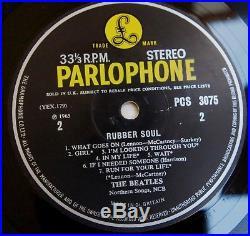 THE BEATLES RUBBER SOUL LP STEREO VINYL Rare UK 1st Press 2/2 Early Stamper G/R