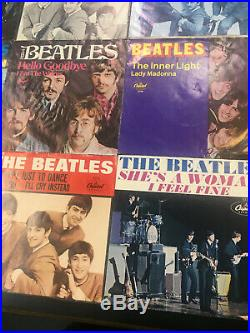 THE BEATLES nice lot of 15 capitol picture sleeves 45 PS vintage 1964-1969 rare