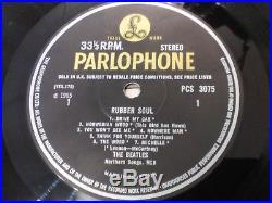 The Beatles Rubber Soul UK 1965 1st press Parlophone STEREO vinyl LP superb
