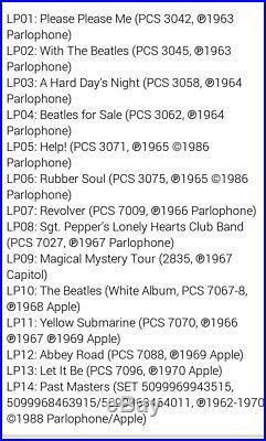 The Beatles Stereo Box Set Remastered Reissued 180g Vinyl Nov-2012 LPs Records
